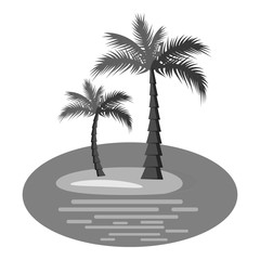 Palm trees on island icon. Gray monochrome illustration of palm trees on island vector icon for web