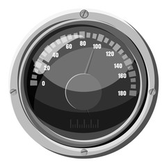 Round speedometer icon. Gray monochrome illustration of round speedometer vector icon for web