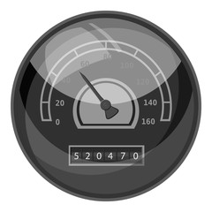 Speedometer with arrow for car icon. Gray monochrome illustration of speedometer with arrow for car vector icon for web
