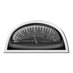 Small speedometer for car icon. Gray monochrome illustration of small speedometer for car vector icon for web