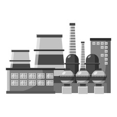 Large production plant icon. Gray monochrome illustration of large production plant vector icon for web