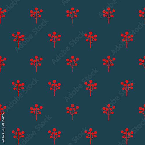 Red Berries Seamless Pattern Simple Nature Background Christmas Style Illustration Cute Design For