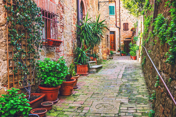 Wall Mural - Alley in Italian old town Tuscany Italy