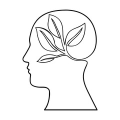 head silhouette leaves or sprout icon image vector illustration design