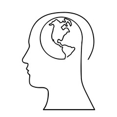 human head with planet earth icon image vector illustration design