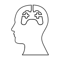 head and game controller icon image vector illustration design