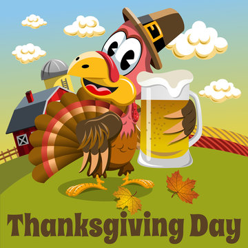 Thanksgiving day background pilgrim turkey holding beer mug