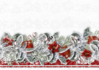 Christmas border with poinsettia, snow branches and balls on a white background .Greeting card