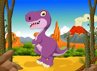 funny tyrannosaurs cartoon with forest landscape background
