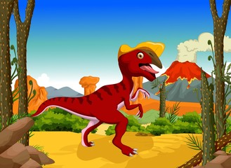funny dinosaur Parasaurolophus cartoon with forest landscape background