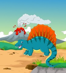 cute dinosaur cartoon with volcano background