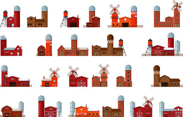 collection of different cartoon farm buildings