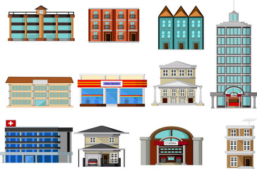 various buildings cartoon for you design