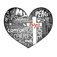 chalkboard heart vector with white handwritten typography text with Christian cross and Jesus in red letters, inspirational church bulletin design, peace, love, and help for the hurting concept