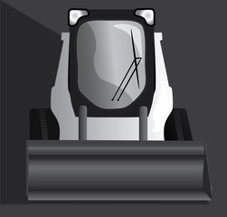 Steer Skid Loader : White skid loader front view heavy construction equipment