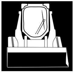 Black and White Steer Skid Loader : Heavy equipment vector cartoon or icon
