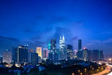 Kuala lumpur skyline at dusk, Malaysia cityscape