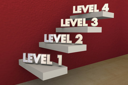 Levels Steps Stairs 1 to 4 Rising Climbing Higher 3d Illustratio