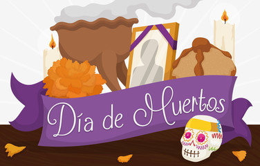 "Traditional Mexican Offering to Celebrate ""Dia de Muertos"", Vector Illustration"