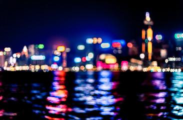 Abstract bokeh city light for background, Hong Kong