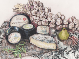 Cheeses and garlic braid, still life pencil illustration. Black waxed cheese wheels with green pear on marble with patterned cloth.
