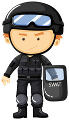 SWAT in black safety suit