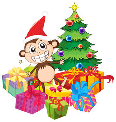Christmas theme with monkey and christmas tree