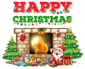 Christmas theme with Santa at fireplace