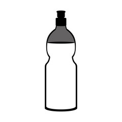 silhouette of water bottle container icon over white background. vector illustration