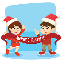 boy and girl holding christmas banner