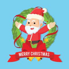 santa inside christmas wreath