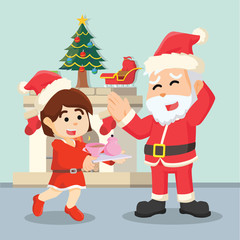 girl giving tea to santa