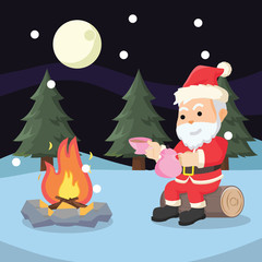 santa taking break illustration design