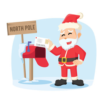 santa receiving letter illustration design