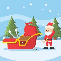 santa repairing his sleigh
