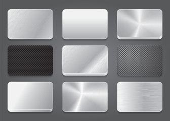 Card icons with metal background. Platinum button icons set.