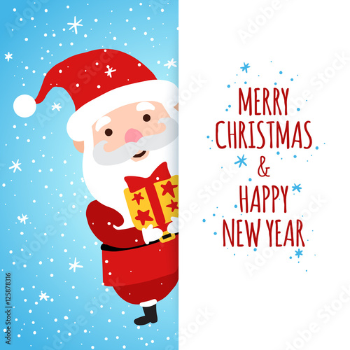 Merry Christmas and Happy New Year greetings card with santa claus ...
