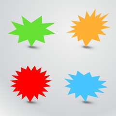 Bursting speech star set, starburst speech bubbles with shadow