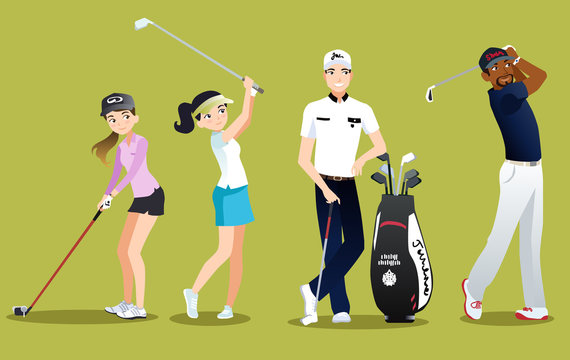 Group golfers vector isolated characters on green background. Set of golf player flat style for golf school website