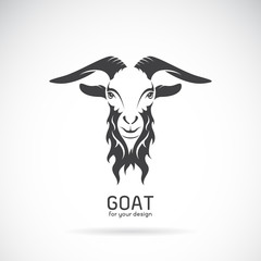 Vector image of a goat head design on white background, Vector g