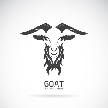 Vector of a goat head design on white background. Animals.