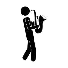 silhouette of musician man playing a saxophone musical instrument icon over white background. vector illustration