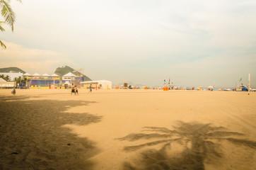 Brazilians people relaxing at Copacabana Beach.