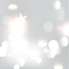 Christmas silver bokeh background defocused lights xmas star. Vector illustration eps10 format.