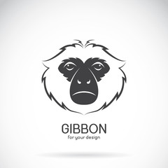 Vector image of a gibbon head design on white background, Vector