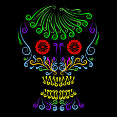 Mexican sugar skull with color ornament for Day of dead