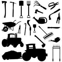 Gardening Farming Equipment Tools Silhouette Set with Tractor