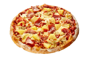 Delicious Hawaiian pizza with ham and pineapple