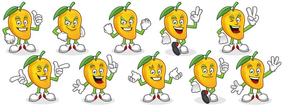 Vector character pack of mango, mango mascot set, mango cartoon.
