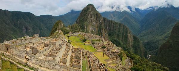 Panorama of the Incan citadel Machu Picchu in Peru
